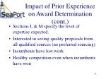 impact of prior experience on award determination cont