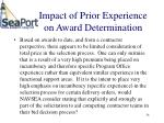 impact of prior experience on award determination