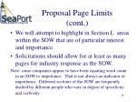 proposal page limits cont