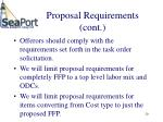 proposal requirements cont