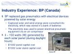 industry experience bp canada