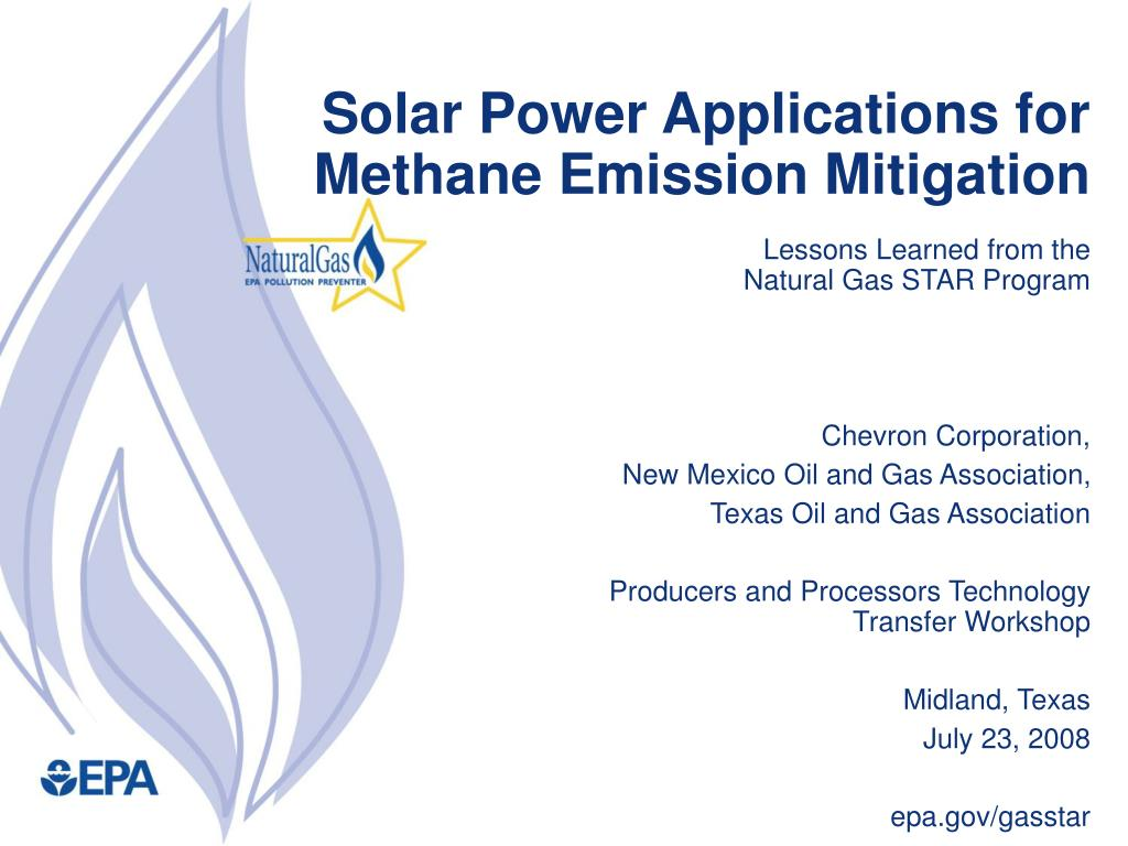 PPT - Solar Power Applications for Methane Emission