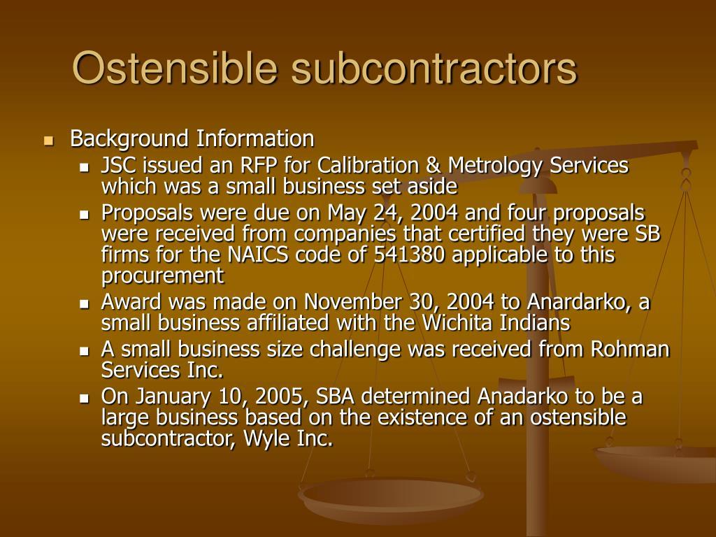 ostensible subcontractors l.