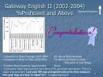 gateway english ii 2002 2004 proficient and above