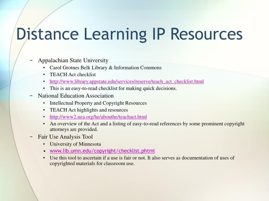 Distance Learning IP Resources