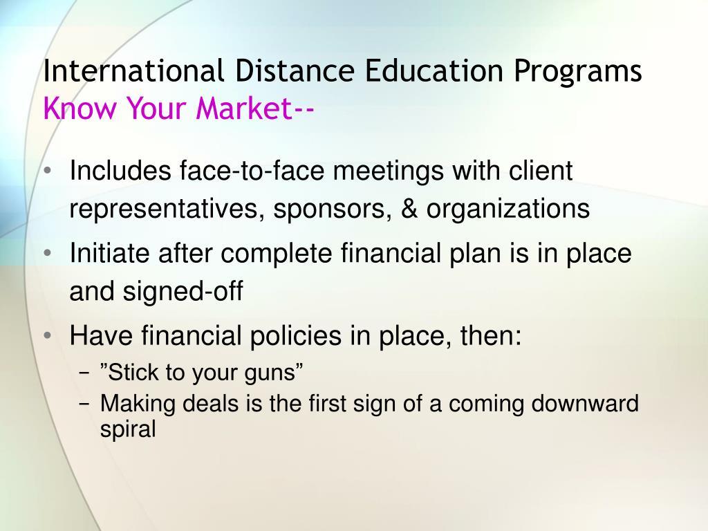 International Distance Education Programs