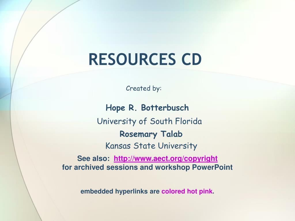 RESOURCES CD