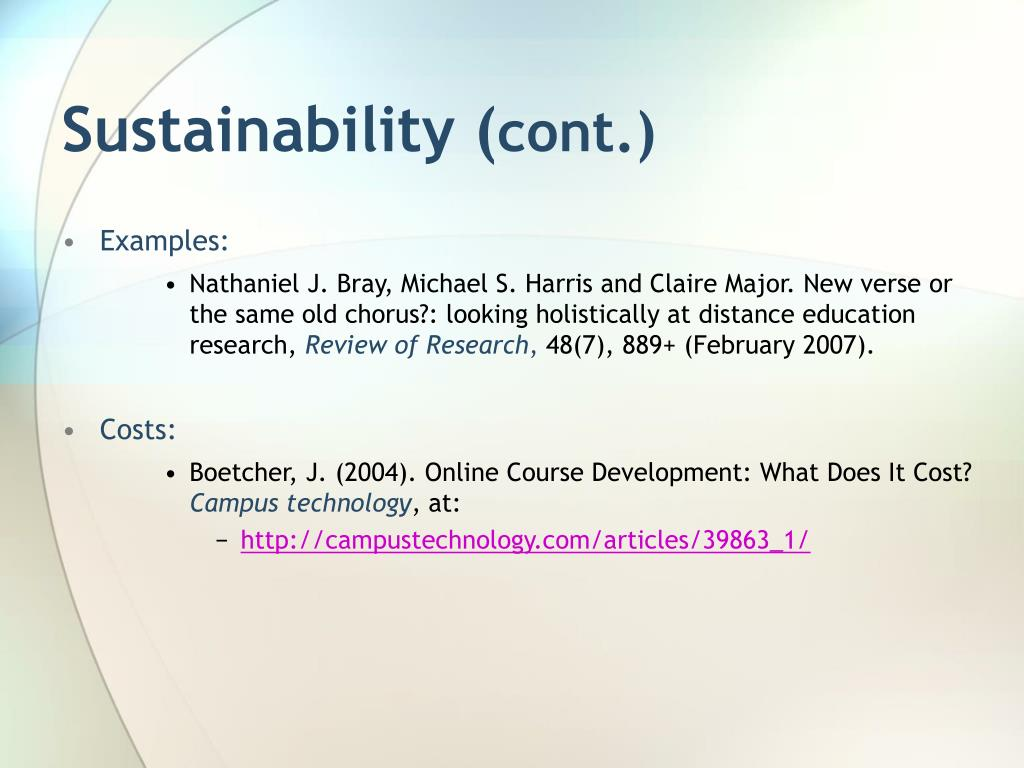 Sustainability (