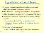 algorithm in formal terms