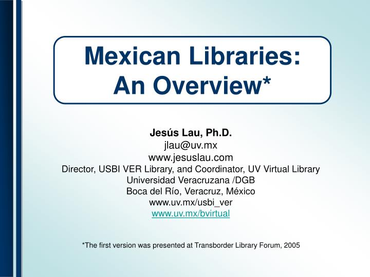 mexican libraries an overview n.