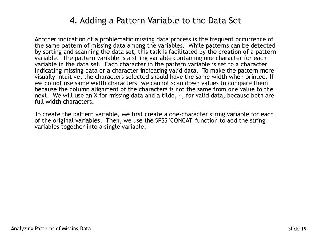 4. Adding a Pattern Variable to the Data Set