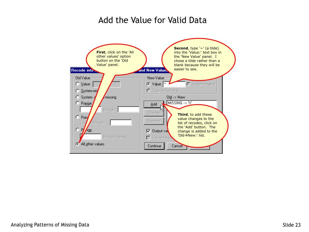 Add the Value for Valid Data