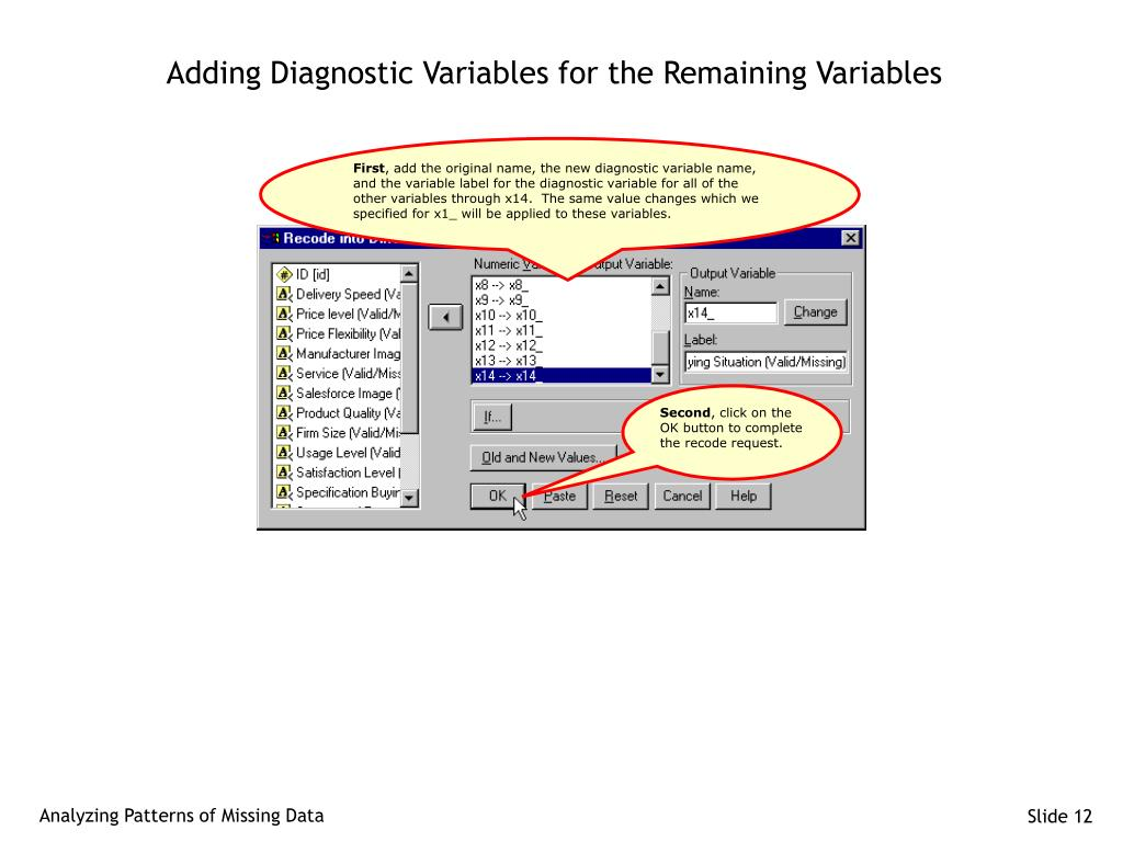 Adding Diagnostic Variables for the Remaining Variables