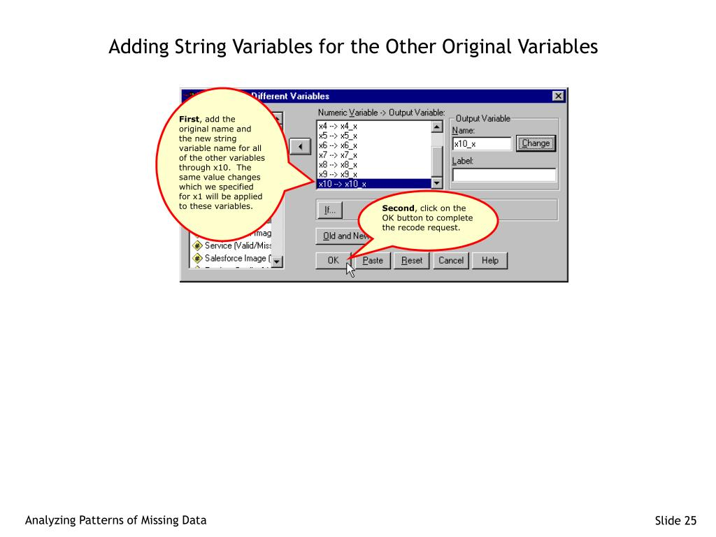 Adding String Variables for the Other Original Variables