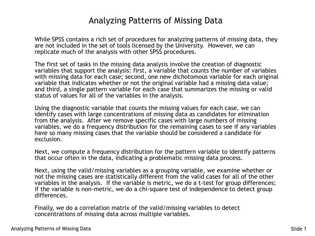 analyzing patterns of missing data l.