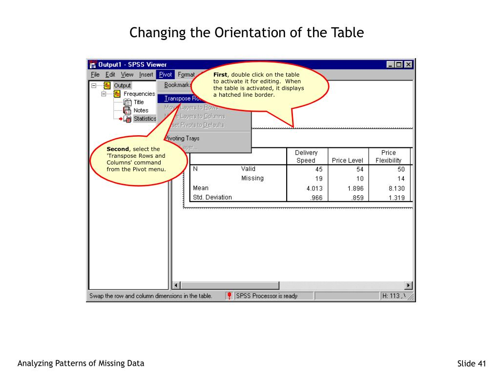 Changing the Orientation of the Table