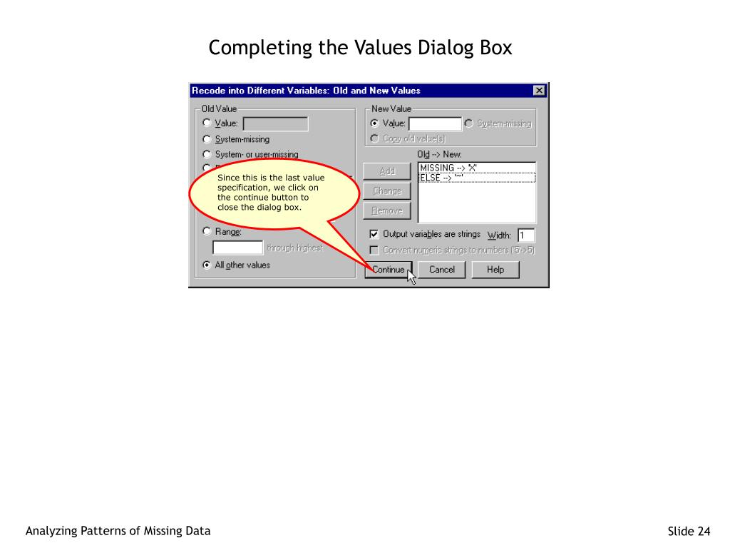 Completing the Values Dialog Box