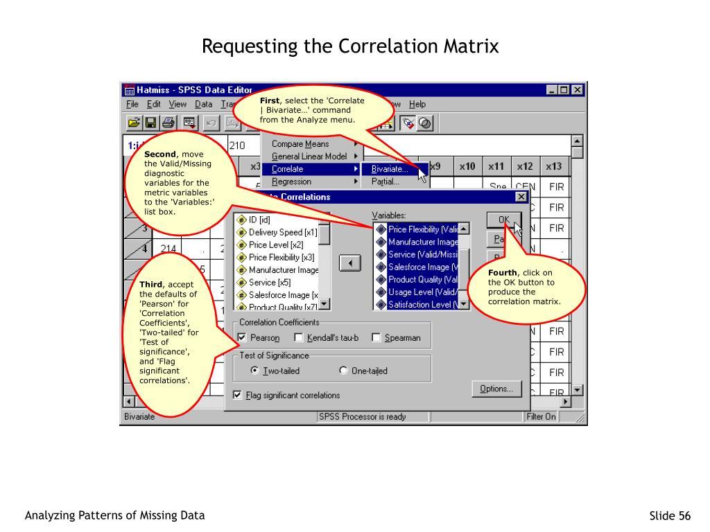Requesting the Correlation Matrix