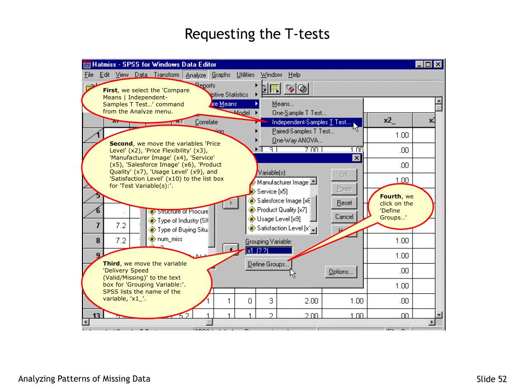 Requesting the T-tests