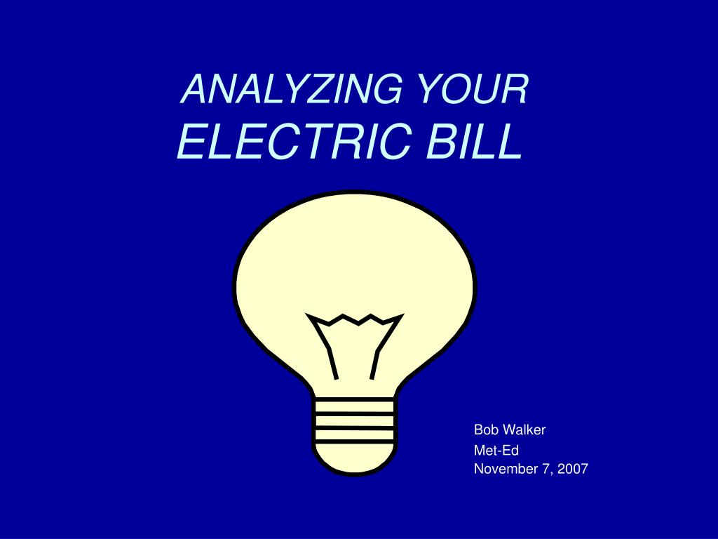 analyzing your electric bill l.