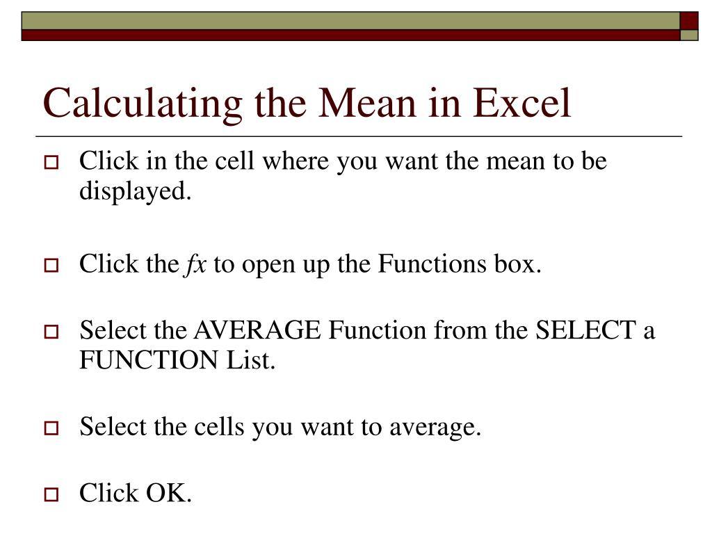 Calculating the Mean in Excel