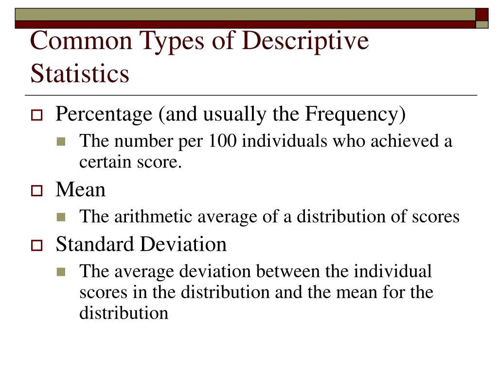 Common Types of Descriptive Statistics