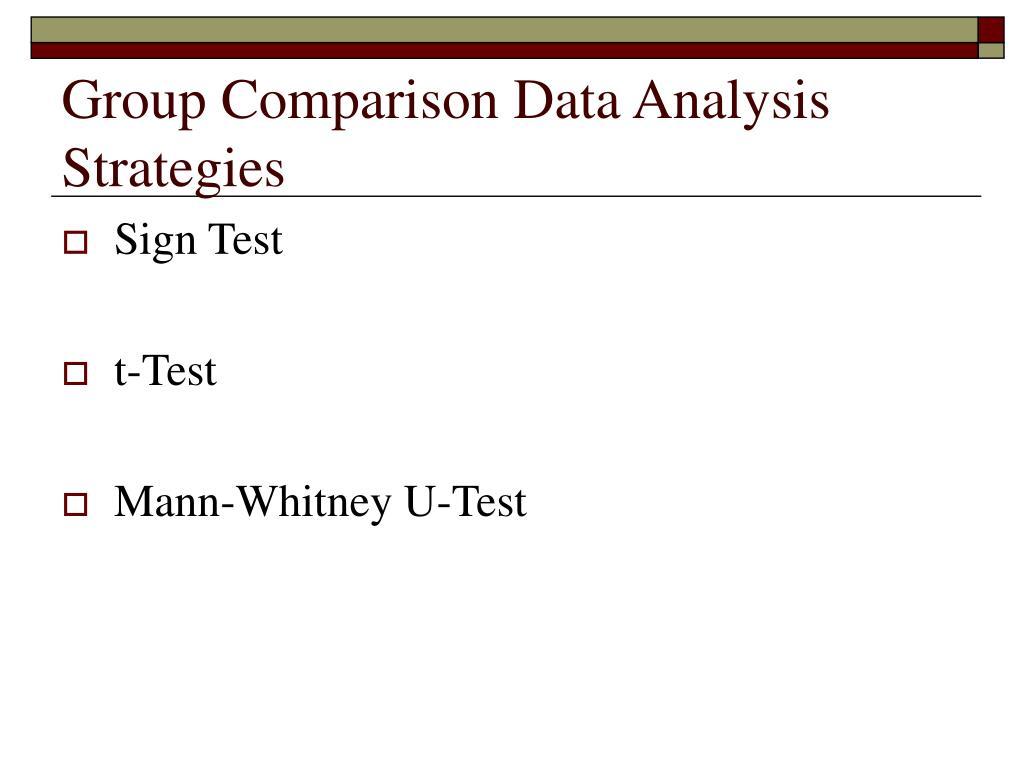 Group Comparison Data Analysis Strategies