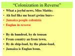 colonization in reverse