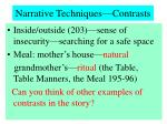 narrative techniques contrasts