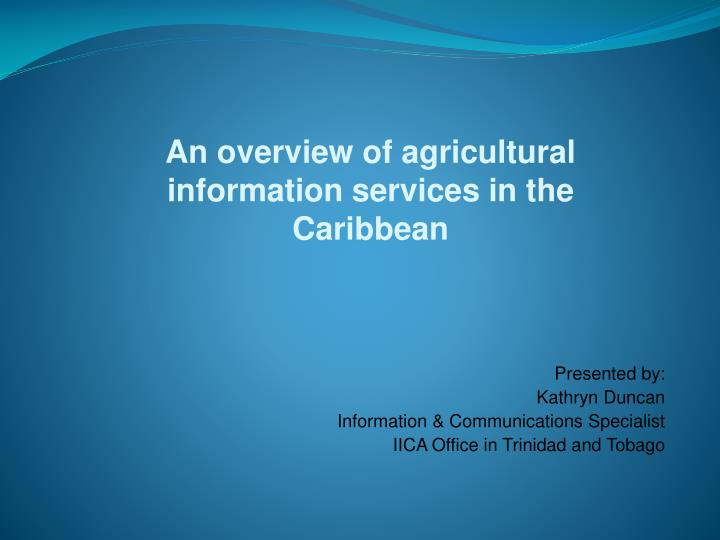 an overview of agricultural information services in the caribbean n.