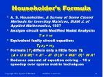 householder s formula