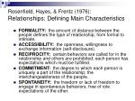 rosenfield hayes frentz 1976 relationships defining main characteristics