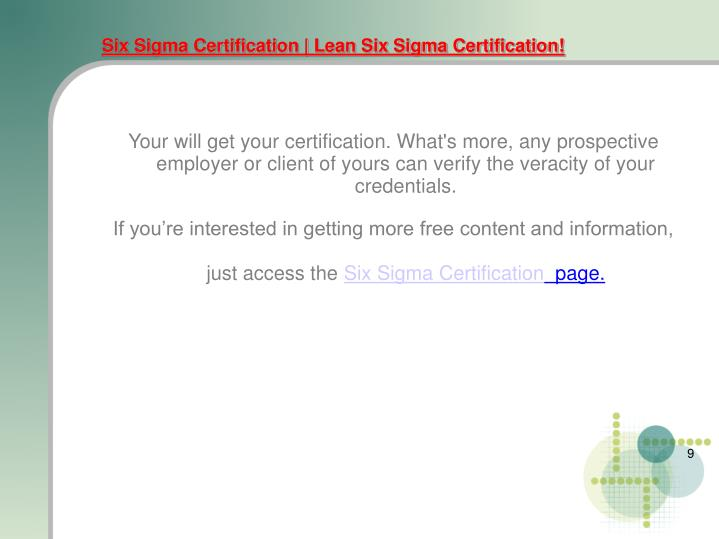 Six Sigma Certification | Lean Six Sigma Certification!
