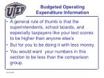 budgeted operating expenditure information48