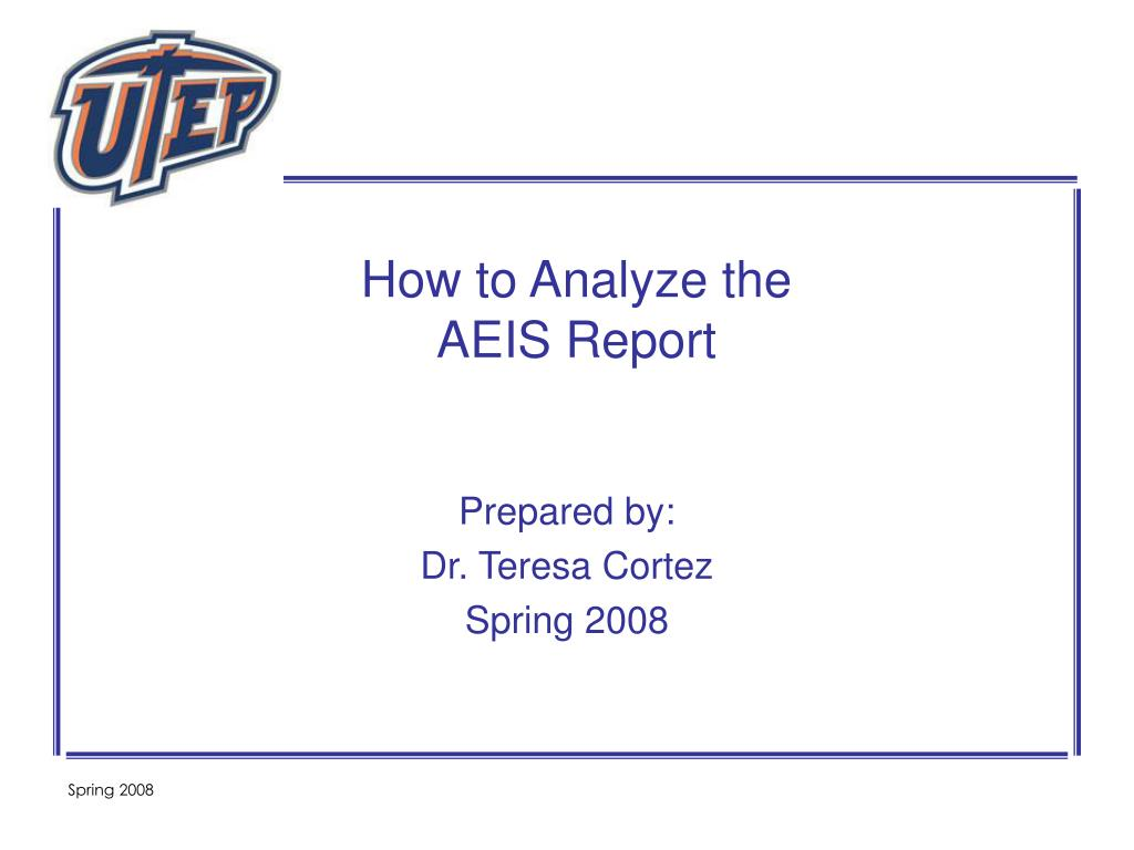 how to analyze the aeis report l.