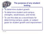 the purpose of any student testing
