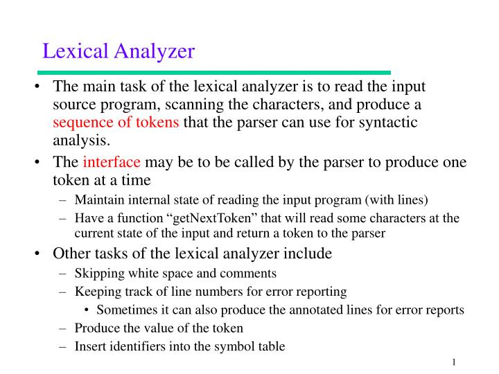 lexical analyzer n.