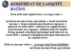 repayment of capacity ratios