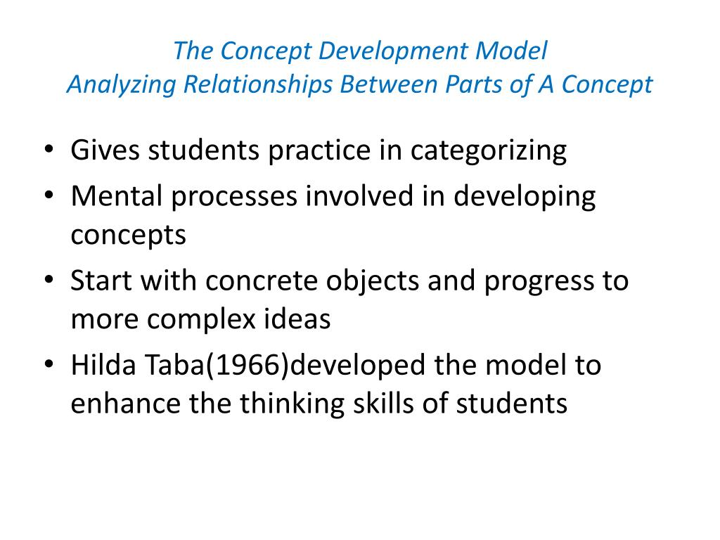 the concept development model analyzing relationships between parts of a concept l.
