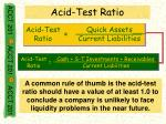 acid test ratio