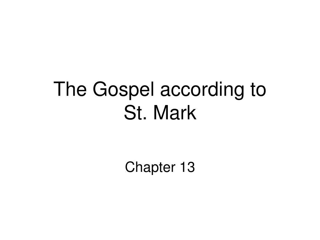 the gospel according to st mark l.