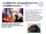 isu berkaitan gangguan manusia terhadap biosfera