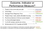 outcome indicator or performance measure