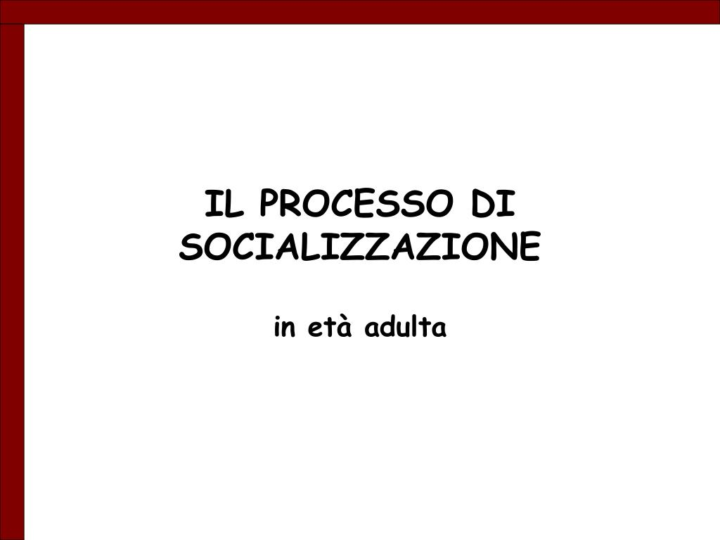 il processo di socializzazione l.