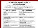 le tattiche organizzative di socializzazione