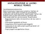 socializzazione al lavoro modelli teorici25