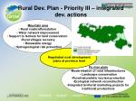 rural dev plan priority iii integrated dev actions