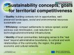 sustainability concepts goals for territorial competitiveness