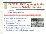pcsat2 dod synergy in the amateur satellite service