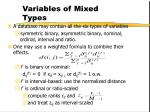 variables of mixed types